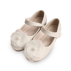 Girl's Leatherette Flat Heel Round Toe Closed Toe Flats With Imitation Pearl Velcro Flower