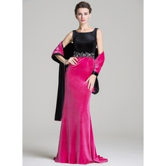 Trumpet/Mermaid Square Neckline Sweep Train Velvet Mother of the Bride Dress With Beading Appliques Lace Sequins