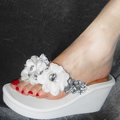 Women's Corn Bran Wedge Heel Wedges Slippers With Rhinestone Flower shoes