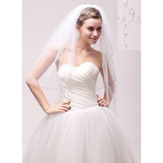 Three-tier Beaded Edge Waltz Bridal Veils With Beading