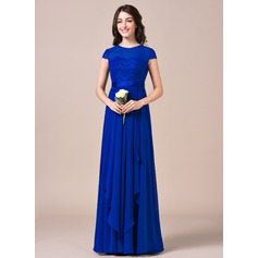 A-Line/Princess Scoop Neck Floor-Length Chiffon Lace Bridesmaid Dress With Bow(s) Cascading Ruffles