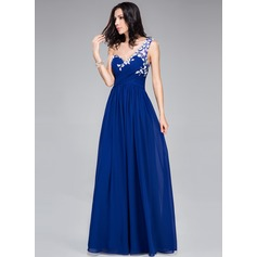 A-Line/Princess One-Shoulder Floor-Length Chiffon Prom Dress With Ruffle Appliques Lace Flower(s)