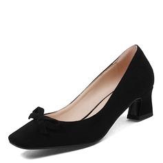 Donna Camoscio Tacco spesso Punta chiusa con Bowknot scarpe