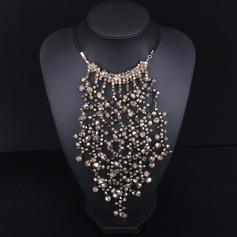 Beautiful Alloy Gold Plated With Rivet Imitation Stones Ladies' Fashion Necklace