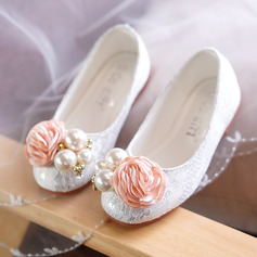 Girl's Round Toe Closed Toe Lace Flat Heel Flats Flower Girl Shoes With Beading Flower