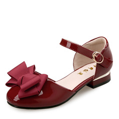 Pigens Round Toe Lukket Tå patent Leather Flad Hæl sandaler Fladsko Flower Girl Shoes med Bowknot