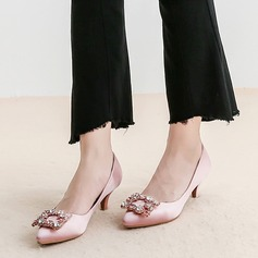 Women's Silk Like Satin Stiletto Heel Pumps With Crystal shoes (085105798)
