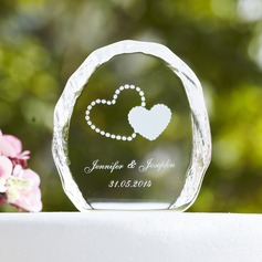 Personalized Double Hearts Crystal Cake Topper (118030223)