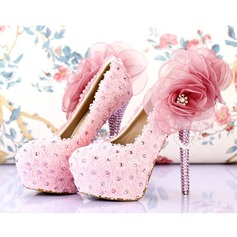 Women's Real Leather Stiletto Heel Closed Toe Pumps With Flower