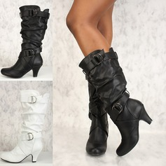 Women's Leatherette PU Stiletto Heel Pumps Closed Toe Boots Knee High Boots With Buckle Ruffles shoes