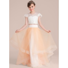 Ball-Gown Scoop Neck Floor-Length Tulle Junior Bridesmaid Dress