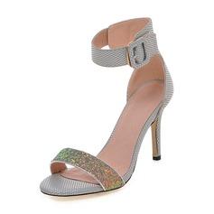 Vrouwen Sprankelende Glitter PU Stiletto Heel Sandalen Pumps Peep Toe met Gesp schoenen
