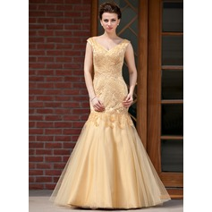 Trumpet/Mermaid V-neck Floor-Length Satin Tulle Mother of the Bride Dress With Beading