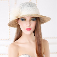 Ladies' Elegant Cambric With Flower Beach/Sun Hats