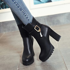 Women's Leatherette Chunky Heel Pumps Platform Boots With Rhinestone Buckle Zipper shoes