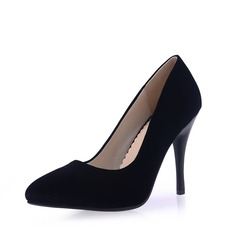 Women's Velvet Spool Heel Pumps Closed Toe shoes