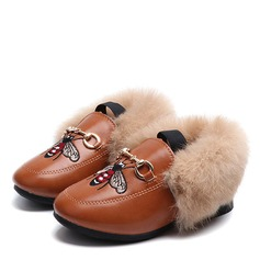 Girl's Round Toe Closed Toe Ankle Boots Leatherette Flat Heel Boots With pompom