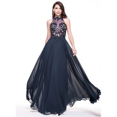A-Line/Princess High Neck Floor-Length Chiffon Evening Dress With Lace Beading Sequins
