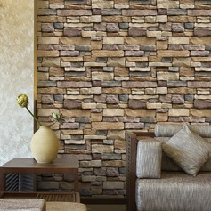 3D Faux Oblong Stones Wall Removable Wall Sticker (Sold in a single piece)