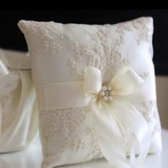 Gathered Elegance Ring Pillow in Cloth With Bow/Faux Pearl/Lace