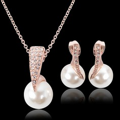 Beautiful Alloy Rhinestones With Imitation Pearl Ladies' Jewelry Sets