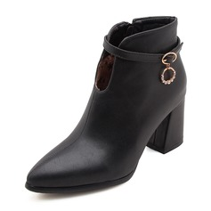 Women's Leatherette Stiletto Heel Pumps Closed Toe Boots Ankle Boots With Buckle shoes