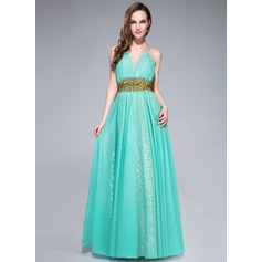 A-Line/Princess Halter Floor-Length Chiffon Prom Dress With Ruffle Beading Sequins