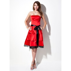 A-Line/Princess Strapless Knee-Length Satin Homecoming Dress With Sash Bow(s)