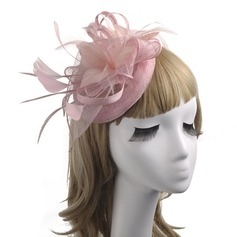 Ladies' Classic/Elegant/Vintage Linen With Feather/Silk Flower/Tulle Fascinators