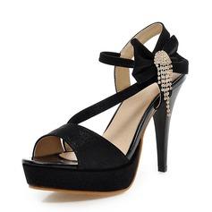 Kvinner Lær Stiletto Hæl Sandaler Pumps Platform Titte Tå Slingbacks med Bowknot Tassel sko