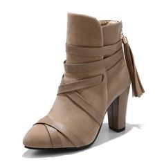 Vrouwen Suede Kunstleer Stiletto Heel Pumps Laarzen met Vastrijgen schoenen