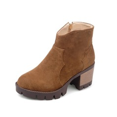 Women's Suede Low Heel Platform Ankle Boots With Zipper shoes