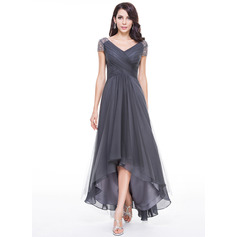 A-Line/Princess V-neck Asymmetrical Tulle Evening Dress With Ruffle Beading Sequins (017056519)
