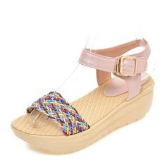 De mujer PVC Tipo de tacón Sandalias Salón Cuñas Encaje Solo correa con Hebilla zapatos