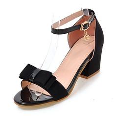 Mulheres Tecido Salto robusto Sandálias Bombas Peep toe com Strass Bowknot sapatos