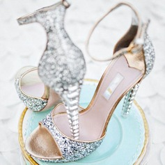 Women's Leatherette Stiletto Heel Peep Toe Pumps With Rhinestone Sequin