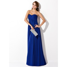 Empire Sweetheart Sweep Train Chiffon Evening Dress With Ruffle