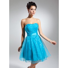 A-Line/Princess Sweetheart Knee-Length Organza Cocktail Dress With Ruffle