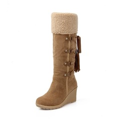 Women's Suede Wedge Heel Pumps Platform Wedges Boots Knee High Boots With Lace-up shoes