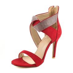 Femmes Suède Talon stiletto Sandales Escarpins avec Paillette chaussures