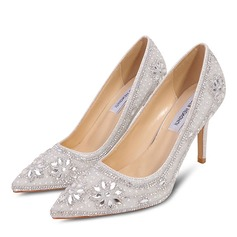 Vrouwen Microfiber leer Stiletto Heel Closed Toe Pumps met Stitching Lace Kristal Parel