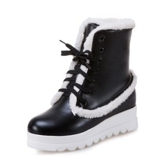 Women's Leatherette Wedge Heel Closed Toe Boots Mid-Calf Boots Snow Boots With Lace-up Fur shoes
