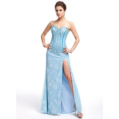 Sheath/Column Sweetheart Floor-Length Lace Evening Dress With Beading Split Front