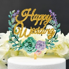 Classic Couple/Flower/Happy Anniversary Acrylic Cake Topper (Sold in a single piece)