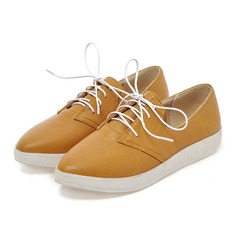 Women's Leatherette Flat Heel Flats Closed Toe With Lace-up shoes (086109577)
