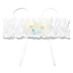 Simplicity Lace Polyester With Ribbons Flower Beading Wedding Garters