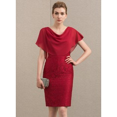 Sheath/Column Cowl Neck Knee-Length Chiffon Lace Cocktail Dress With Cascading Ruffles