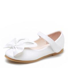 Muchacha Encaje Punta Cerrada Kunstleder Talón plano Planos Zapatos de niña de las flores con Bowknot Velcro