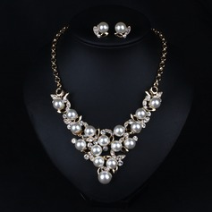 Beautiful Alloy Rhinestones Imitation Pearls With Imitation Pearl Ladies' Jewelry Sets