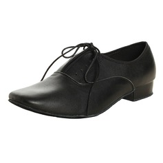 Men's Real Leather Latin Ballroom Practice With Lace-up Dance Shoes